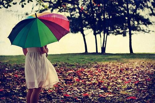 治愈系图片:七色伞